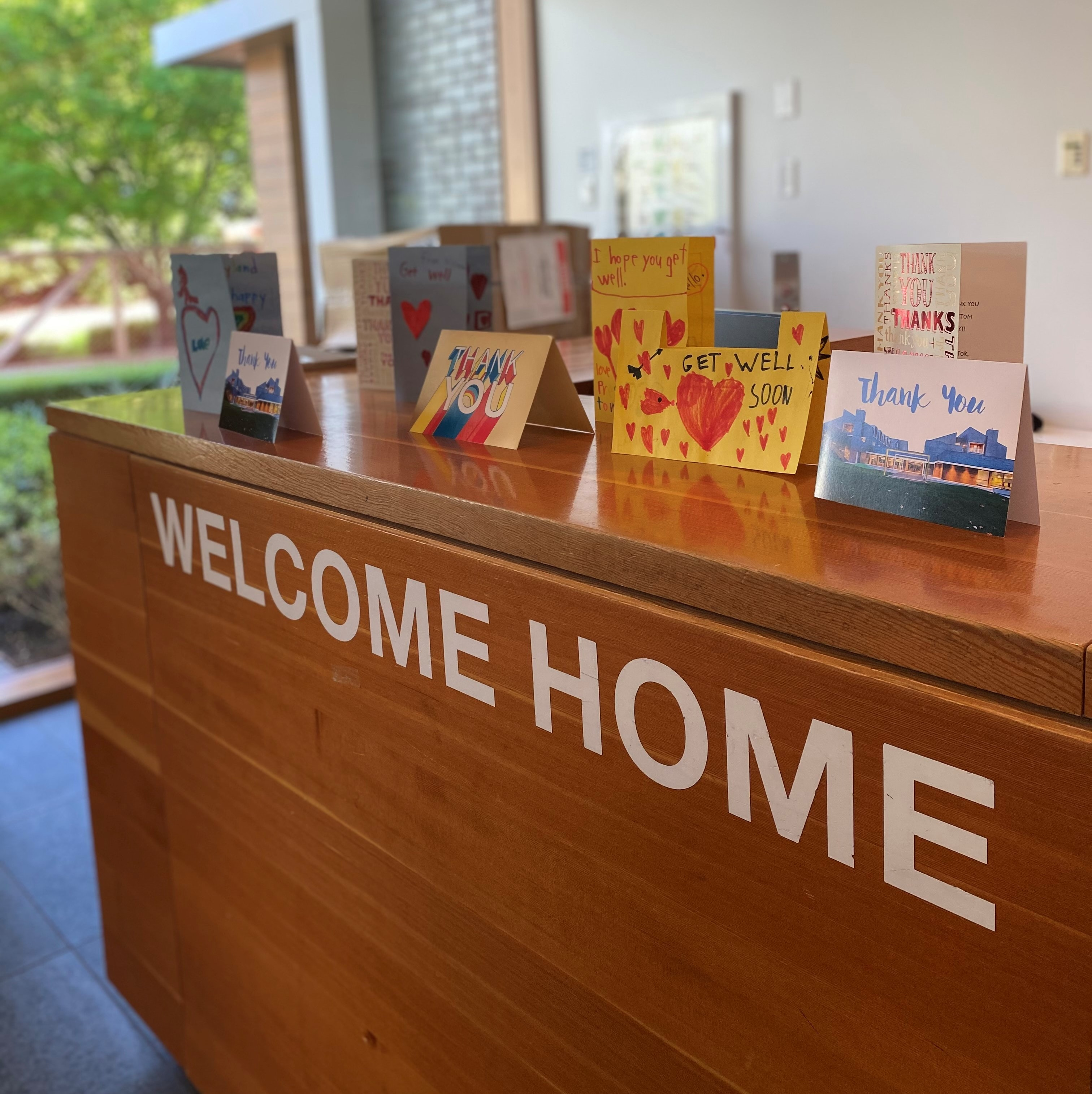 Front desk with cards on top